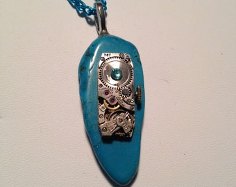 Steam Punk Rectangle Watch Movement Necklace - Long Turquoise color Stone and Gem