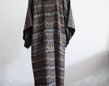 "smoky olive blue gray  Men's KIMONO robe /"" Nagajuban""/ Japanese vintage/ modern unique pattern / luxurious house robe/ made in Japan"