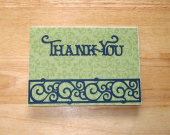 Thank You Card - Thanks - Thank You Note - Appreciation Card - Homemade Card - Handmade Card - Greeting Card - Cricut Card - Blank Inside