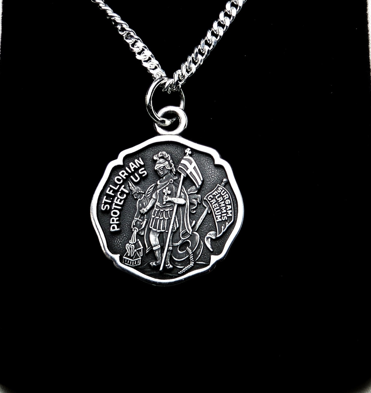 St Florian Necklace: St. Florian Sterling Silver Medal Firefighter Necklace Patron