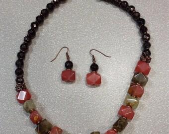 Fire Cherry Quartz Necklace & Earring Set