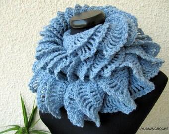 CROCHET RUFFLE SCARF, Handmade Crochet Scarf For Women, Ruffle Scarf, Unique Crochet Scarf, Gift For Her, Crochet For Sale, Lyubava Crochet
