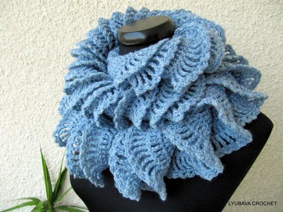 Crochet Ruffle Scarf : Crochet Ruffle Scarf, Blue Scarf, Womens Scarf, Long Scarf, Beautiful ...