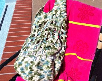 Crocheted cotton beach bag