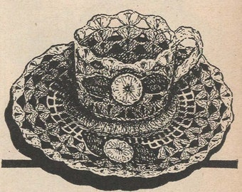 pdf crochet cup and saucer, vintage crochet  pattern instant download