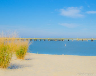 Beach Photography - Blue Water - Yellow Dune Grass - Blue Sky - Ocean City, Maryland - Coastal Home Decor - Beach Cottage Home Decor - 11x20