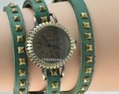 Leather Wrap Stud Watch Boho Adult Accessory Bangle Bracelet Cuff Rivet Watch