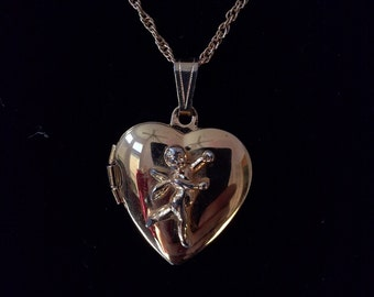 "Gold Plated Cupid Heart Locket with 18"" gold necklace"