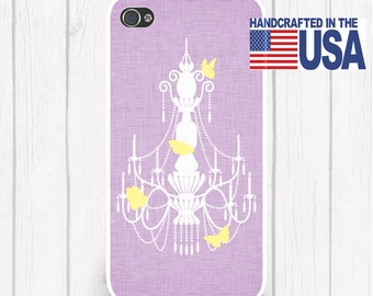 Linen Texture Butterfly Chandelier Silhouette Personalized Phone Case Choice of Colors /4S iPhone 5 iPhone 5S iPhone 5C Samsung iPhone6