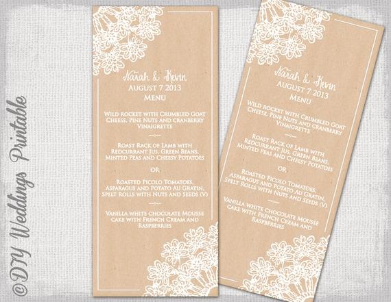 Rustic Wedding menu template DIY wedding menu Lace – Wedding Menu Template