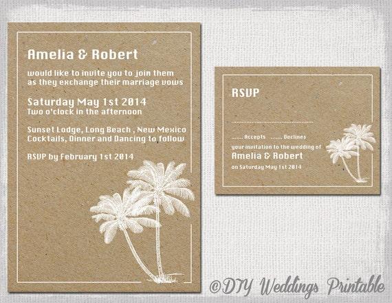 Printable Beach Wedding Invitations: Beach Wedding Invitation & RSVP Template