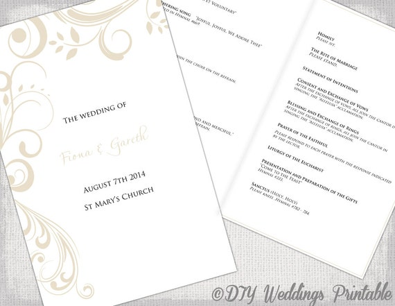 catholic wedding program template by diyweddingsprintable