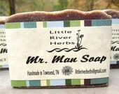 Mr. Man Soap: herbal, handcrafted, exfoliating, cleansing, men's soap - LittleRiverHerbs