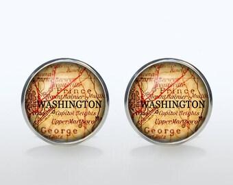 Washington Map Cufflinks Silver plated Washington Vintage Map Cuff links men and women Accessories Antique brown black yellow