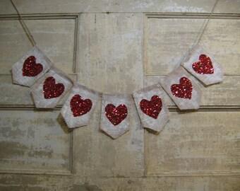 Heart Banner, Heart Bunting, Heart Garland, Wedding Decor, Valentines day Decor, Happy Valentines Day, Burlap Banner, Rustic Bunting,