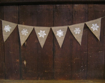 Snow Flake Burlap Banner, Snow Garland, Glitter, Winter Bunting, Winter Banner, Home Decor, Burlap Bunting Garland, Christmas Decor, Rustic