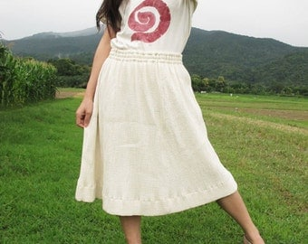 Natural White Color/ Cotton Pleated Medium Skirt....Non dye
