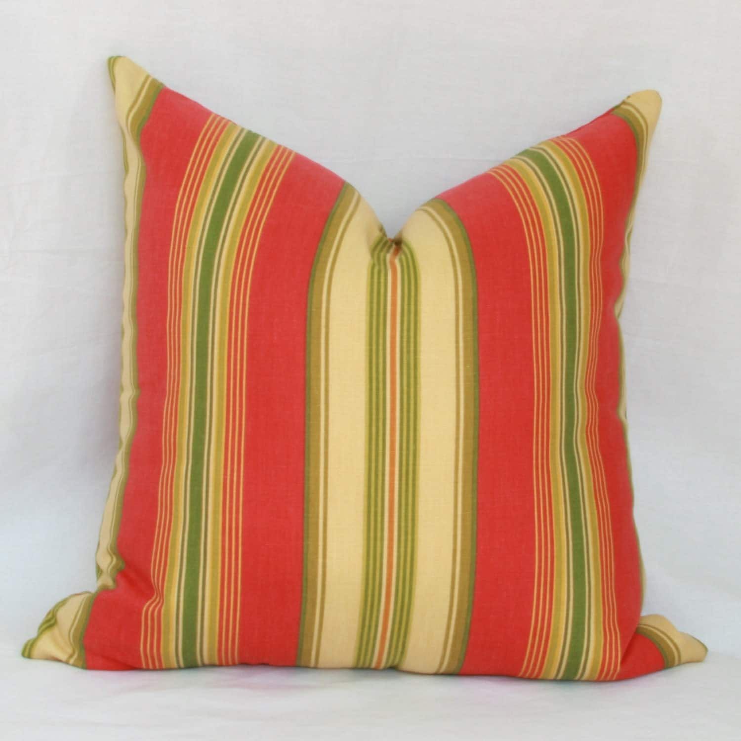 Orange gold & green striped decorative throw pillow cover.