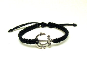 Anchor Hemp Bracelet, Black Macrame Jewelry, Nautical Adjustable Bracelet, Black Friday Cyber Monday Sale
