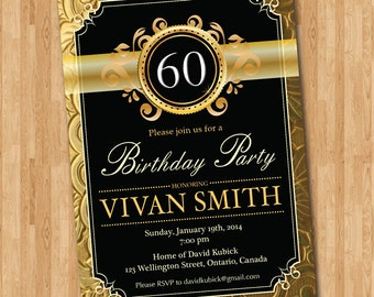 Th Birthday Invitation Gold Glitter Black Chalkboard Adult - Invitations for 60th birthday party templates
