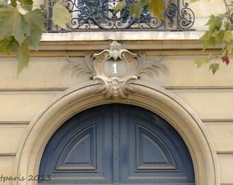 Paris photography, Blue Door,Number 1, Paris Decor, French Decor, Wall Art, Interior Decor, Blue and tan