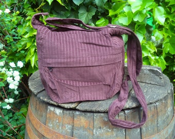 Brown corduroy,zippered bag