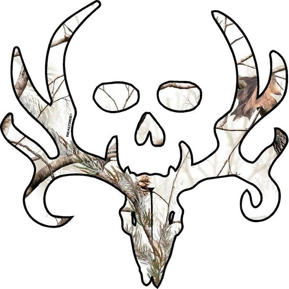 Bone collector Style Buck and Skull camo decalsticker