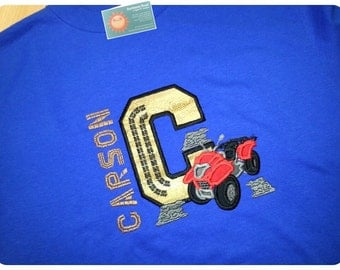Boy's Four Wheeler Birthday Number or Initial Shirt with Embroidered Name
