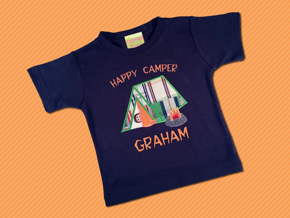 Boy s happy camper shirt with embroidered name