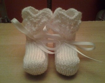 Knit Baby Booties - Zig Zag Ridged Booties - 6 Months