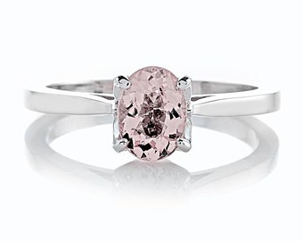 Morganite Engagement Ring 1.50ct Oval Barbie Pink Morganite Ring 14k White Gold Nature Inspired Bloomed Love Ring Pristine Custom Rings