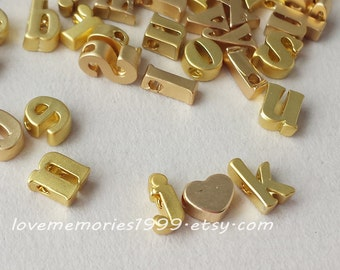 7x5x3mm Matt Gold Plated,  Tiny Letters,  Alphabet Bead, Lower Case, Small Letter