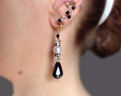 Black Crystals and Freshwater Pearls and Gold Ear Cuffs, pair, for a special occasion with complete comfort assured