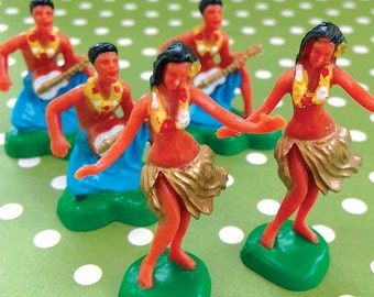 Hula Dancer Cupcake Toppers (6 ) Hawaiian Dancers, Luau Party Cake Toppers, Polynesian Dancers, Tropical Decor