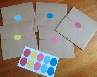 50 envelope seals, mixed envelope seals, coloured labels, stationery supplies