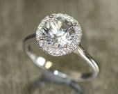 Natural White Topaz and Diamond Halo Engagement Ring in 14k White Gold 8x8mm Round Gemstone Ring (Bridal Wedding Ring Set Available)
