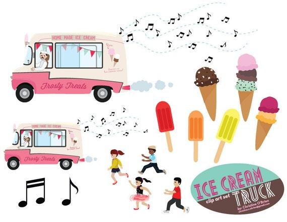 Items similar to Ice Cream Truck Clip Art Set on Etsy  Items similar t...