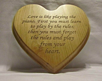 Personalized Solid Wood Heart Plaque With Custom Engraving