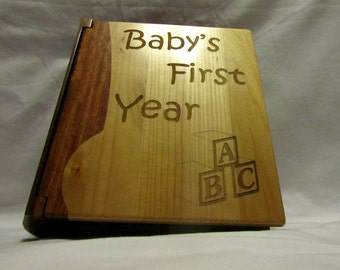 "Engraved Wood Personalized Photo Album ""Baby's First Year"" - Large"