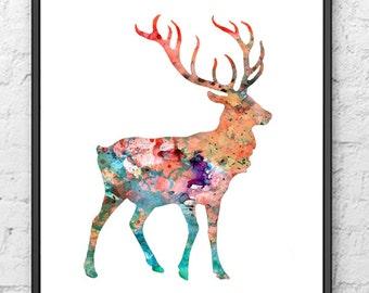 Watercolor Painting Deer Art  - Watercolor art print - Wall art - 100