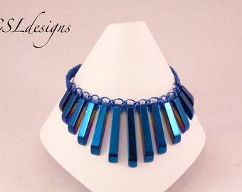 Blue fan shaped hematite macrame bracelet
