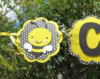 "Bumble Bee - ""NAME"" Banner - Black/White Polka dot and Yellow"