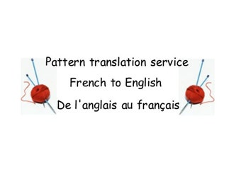 Knitting and Crochet Patterns translation service - French to English
