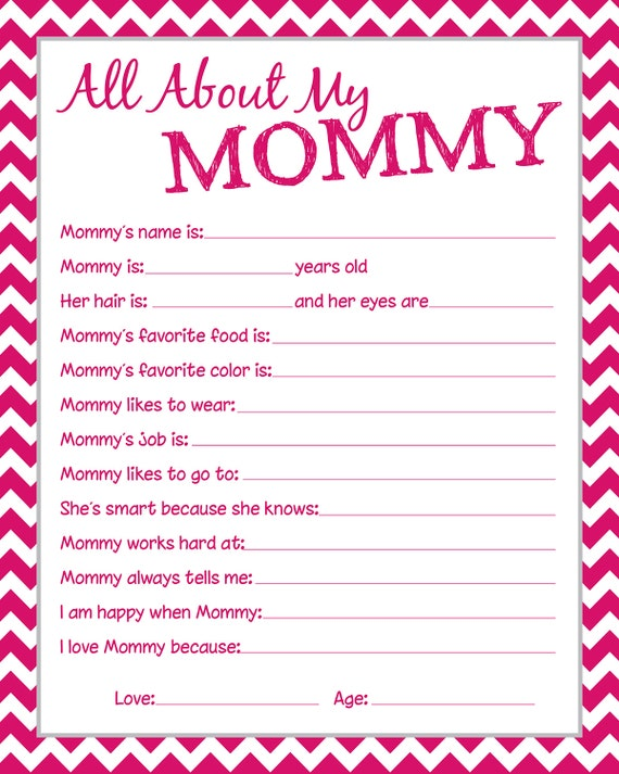 items similar to mommy questionnaire  perfect for mother u0026 39 s