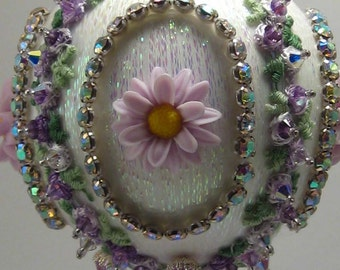 Violet Pearl Blossom - Floral Theme - A Finished Hand Made Beaded Satin Ornament With Crystals