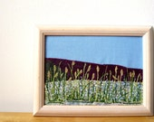 Handmade Framed Embroidery Art - Fall Grass - Textile Art