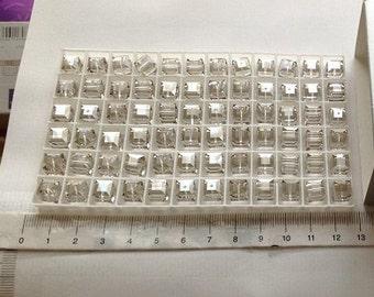 12 - 5601 - 6mm Genuine Swarovski Crystal Bead Cubes - Silver Shade