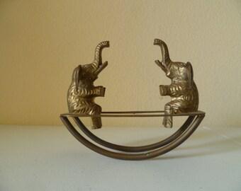 Vinage Brass Elephants on a Seesaw