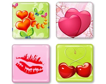 Set of 4,  Hearts & Lips Glass Magnets, Strong Square Glass Magnets, Refrigerator Magnets, Fridge Magnets, Red Pink Green, Valentine's Day