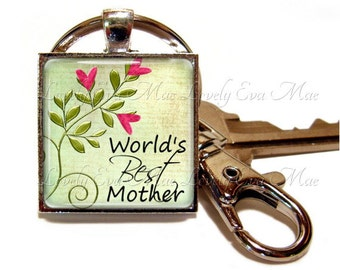 Word's Best Mother Keychain, Mother Key Chain, Pale Green Key Ring, Mother Key Fob,  Keychain with Clip Key Fob with Clasp,  Mother Gift